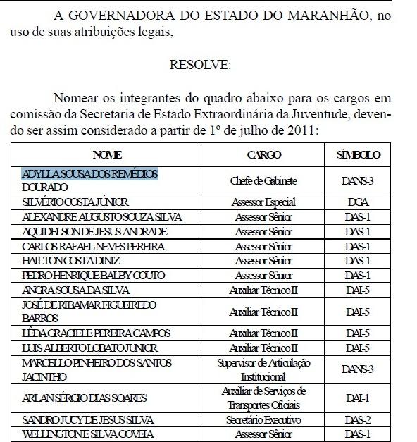 GOVERNADORA NOMEIA FUNCIONÁRIOS DA SECRETARIA ESTADUAL DE JUVENTUDE
