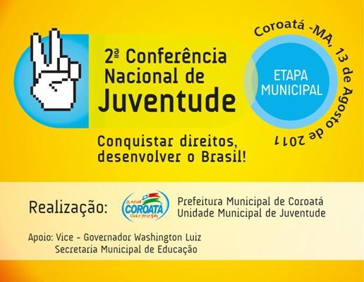 COROATÁ REALIZARÁ CONFERÊNCIA DE JUVENTUDE