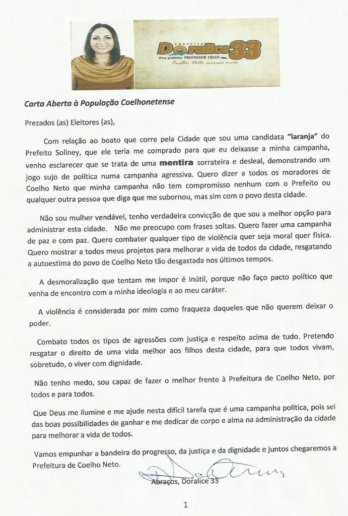 "DORALICE DIVULGA CARTA E NEGA BOATOS DE CANDIDATURA ""LARANJA"""