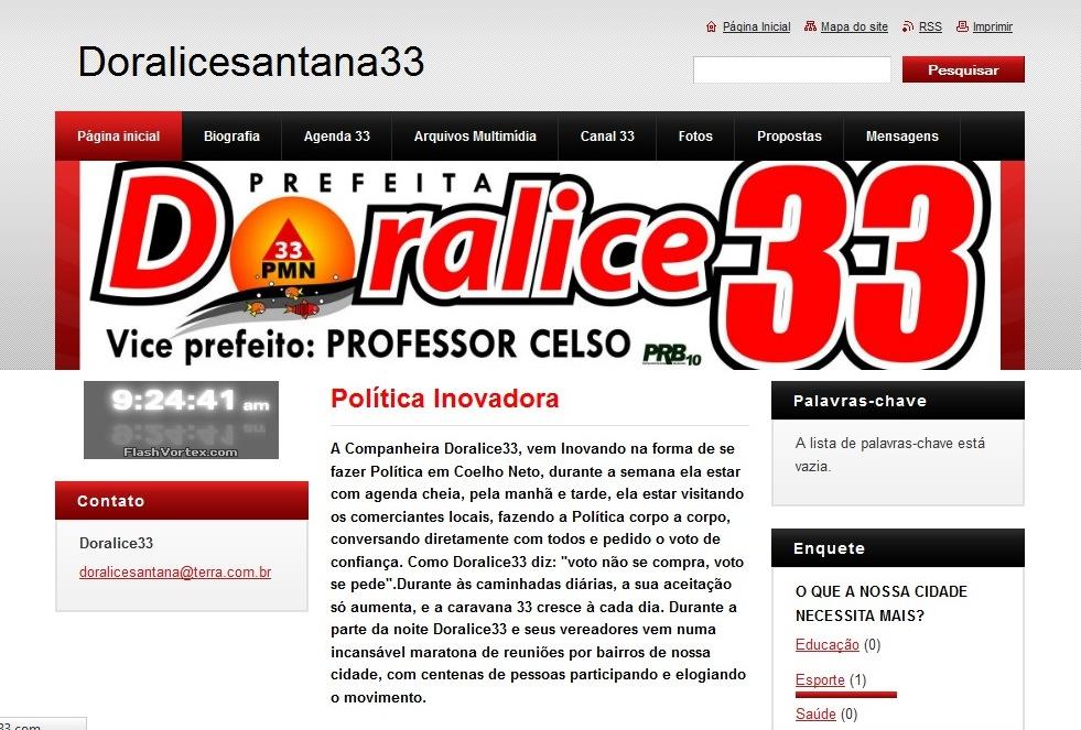 ELEIÇÕES 2012: CANDIDATA DORALICE LANÇA PÁGINA NA INTERNET