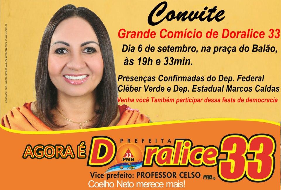 ELEIÇÕES 2012: DORALICE REALIZA PRIMEIRO COMÍCIO HOJE