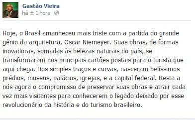 GASTÃO VIEIRA LAMENTA A MORTE DE NIEMEYER