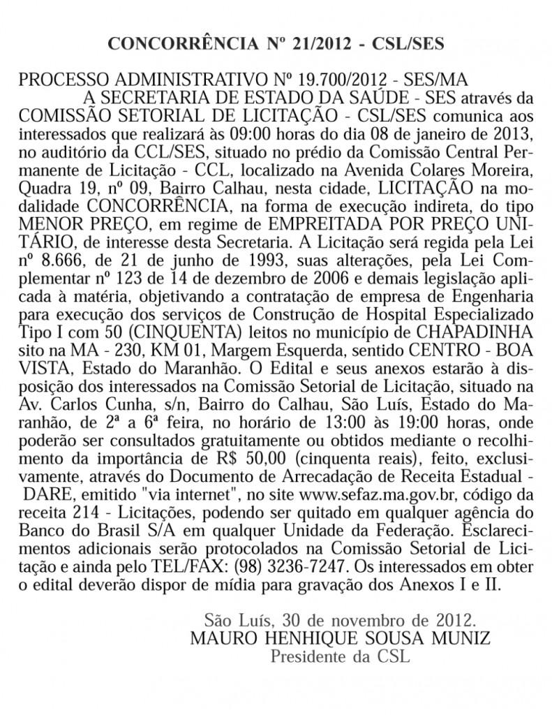 HOSPITAL GERAL DE CHAPADINHA TEM NOVO EDITAL LANÇADO