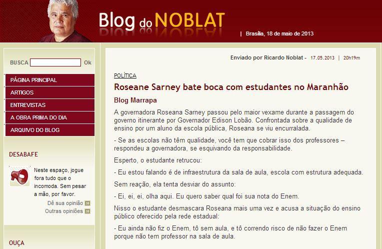 VEXAME: BATE BOCA DE ROSEANA COM ESTUDANTE REPERCUTE NACIONALMENTE