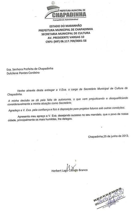 EU AVISEI! POR FALTA DE AUTONOMIA SECRETÁRIO DE CULTURA DE CHAPADINHA ENTREGA O CARGO