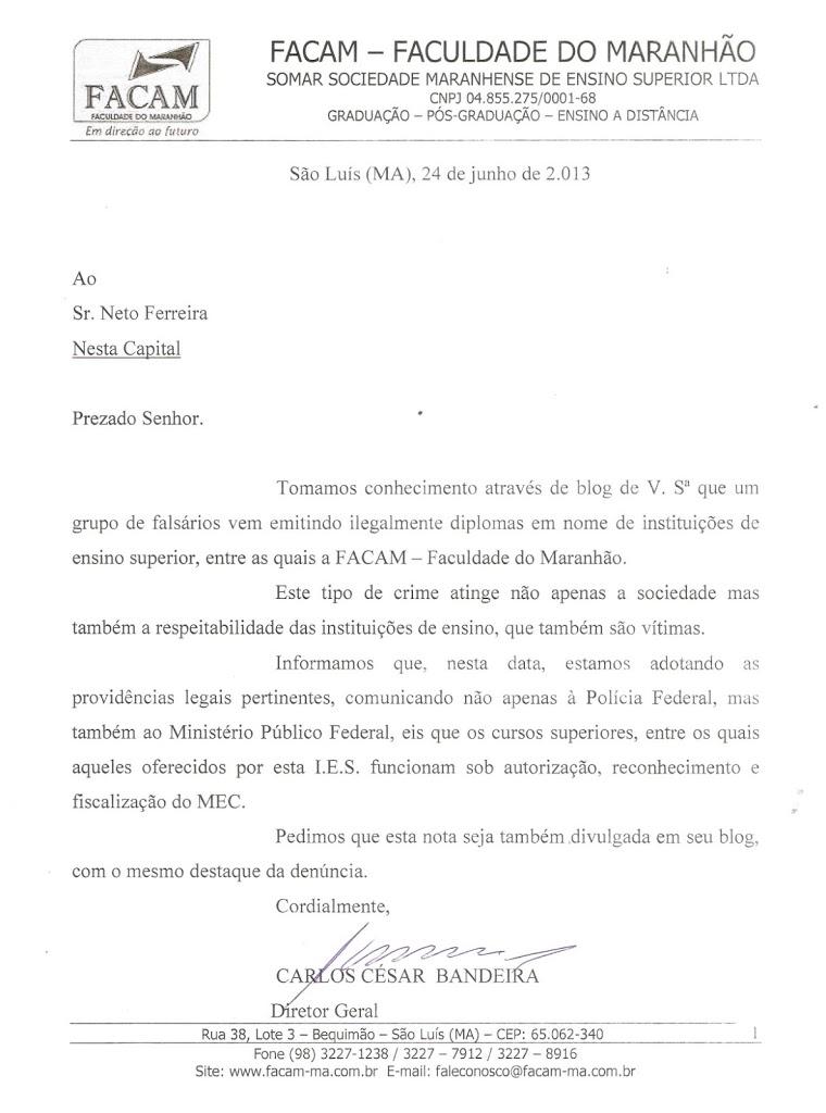 APÓS DENÚNCIAS DE VENDAS DE DIPLOMAS FALSOS, FACAM DENUNCIARÁ O CASO A POLÍCIA FEDERAL