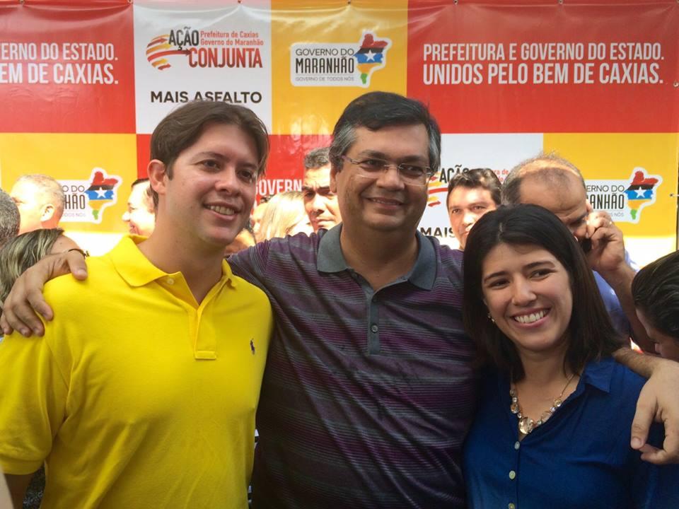 Prefeito Leo Coutinho, governador Flávio Dino e primeira dama Liana