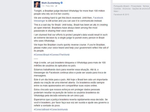 Mark Zuckerberg, cofundador e presidente-executivo do Facebook, comenta bloqueio do WhatsApp no Brasil