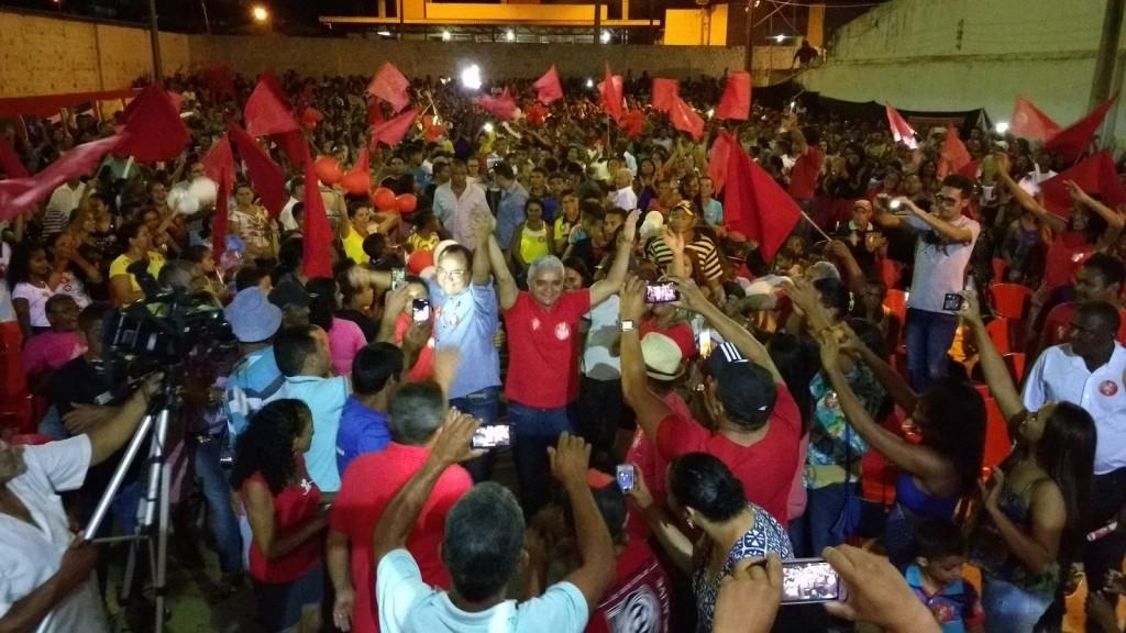Américo e Antônio Pires durante Convenção que confirmou dobradinha PT e PCdoB
