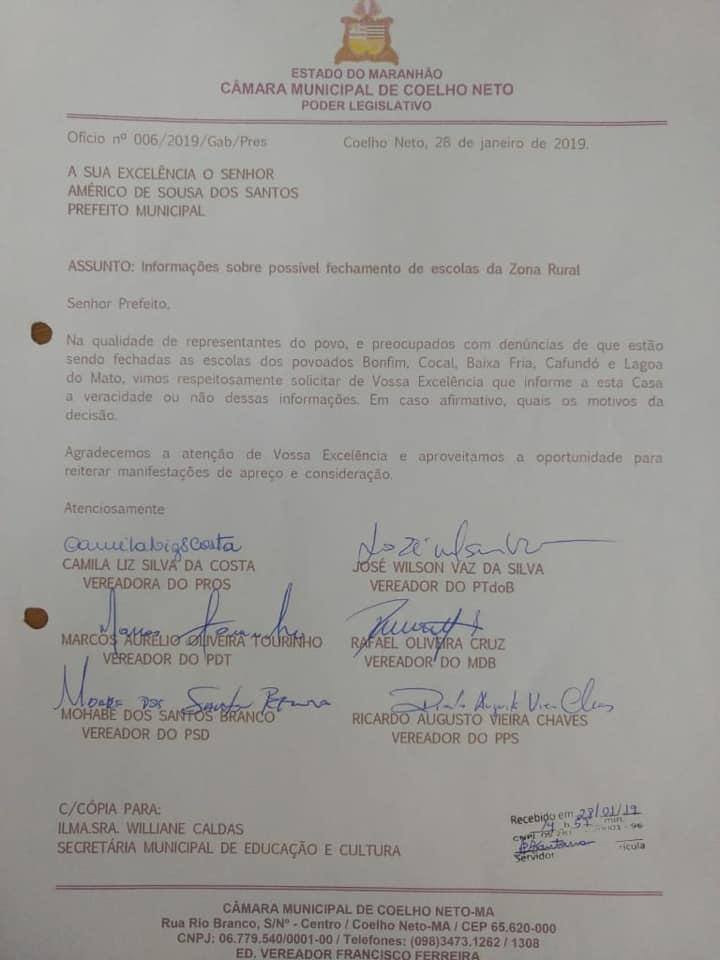 Após denúncias, vereadores cobram explicações sobre possível fechamento de escolas em Coelho Neto