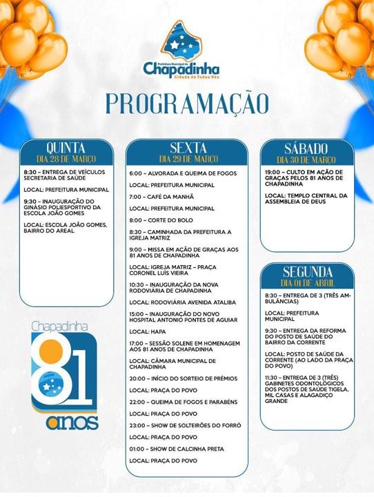 Prefeitura divulga programação oficial do aniversário de Chapadinha