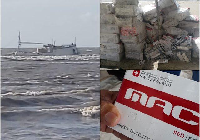 Barco com centenas de maços de cigarro ilegais é encontrado à deriva no MA