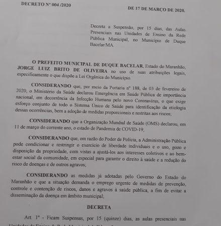 Coronavírus: Prefeitura de Duque Bacelar adere paralisação das escolas por 15 (quinze) dias