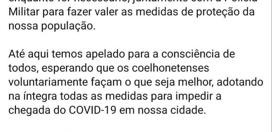 Atenção desobedientes! Prefeito de Coelho Neto diz que usará a Lei e a polícia contra infratores