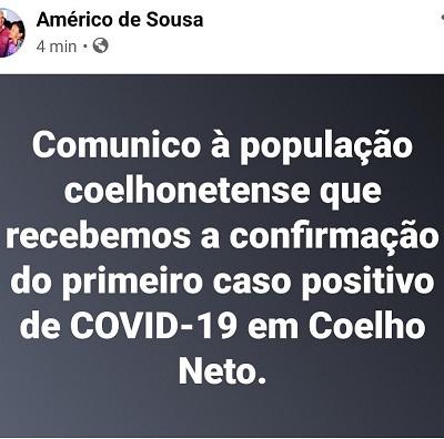 Prefeito confirma primeiro caso do coronavírus em Coelho Neto