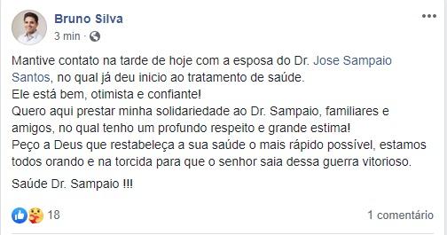 Bruno Silva registra ligação a familiares de Dr. Sampaio após anúncio de tratamento de saúde