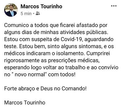 Presidente da Câmara de Coelho Neto anuncia suspeita de Coronavírus