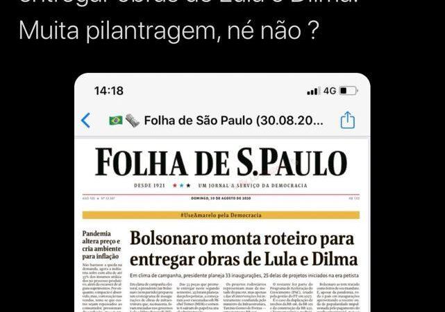 Após 'inaugurar' obras de Roseana e do Iphan, comunistas reclamam de Bolsonaro com obras de Lula e Dilma