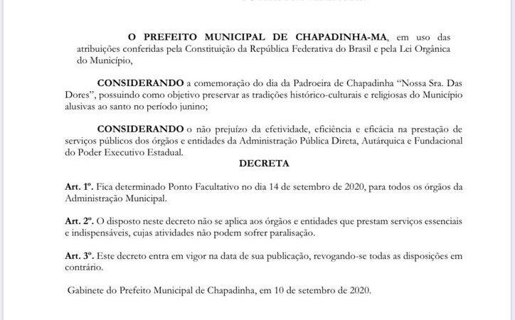 Prefeitura de Chapadinha decreta ponto facultativo na próxima segunda (14)