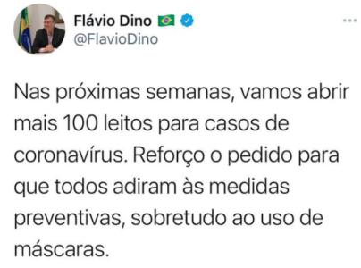 Pressionado, Flávio Dino vai reabrir mais 100 leitos para Covid-19 no MA